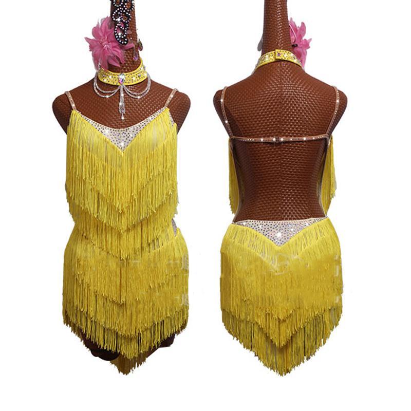 New Latin Dance Dress Amarelo Fringe Vestido Sexy Backless 2019 Salsa ChaCha Rumba competição de dança Mulheres
