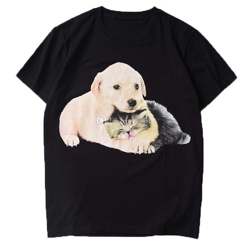 Mens Stylist T Shirt Men Women Stylist High Quality Cute Dog And Cat Printing Short Sleeves Mens High Quality Hip Hop Tees