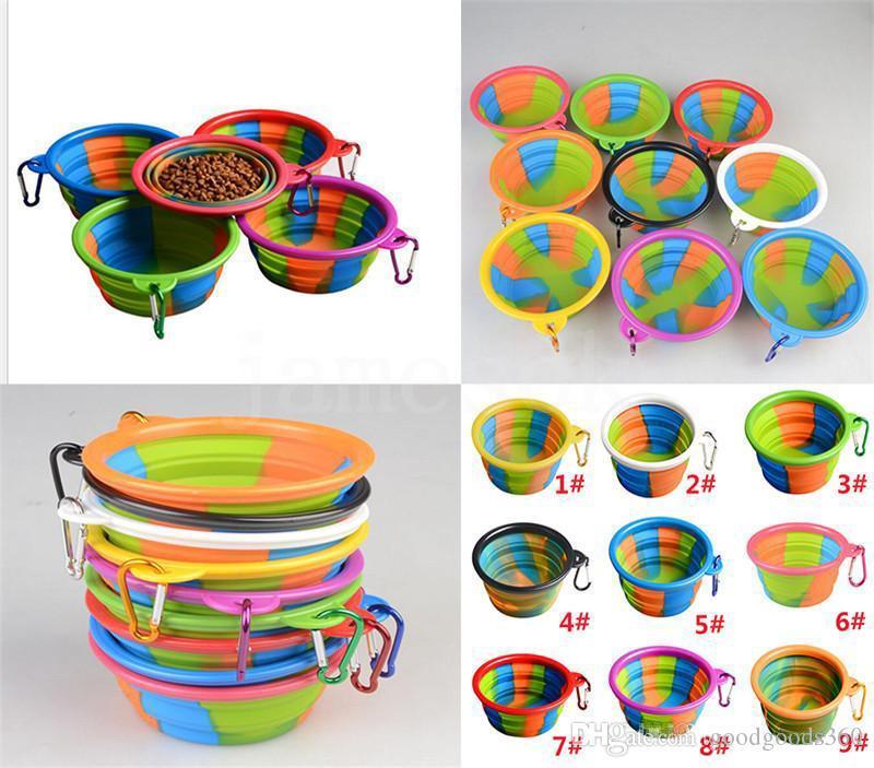 Camouflage Pet Bowl Silicone dobrável Folding filhote de cachorro Bacia Com Carabiner portátil Dog Pet Bowl Para Outdoor Viagem Food Água Alimentação DC821