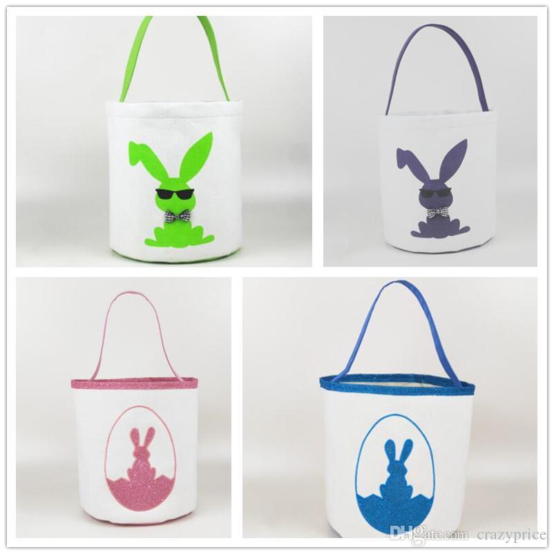 Páscoa baldes bonito Impresso Easter Bunny Basket crianças Cestas Sorte ovo Criança Doces Sacos Holiday Fashion Kid armazenamento Toy Handbag Bags WY520FQ