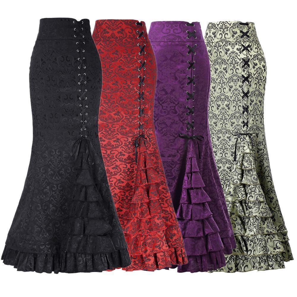 Neue Frauen Sexy Gothic Vintage Lange Meerjungfrau Rock Blumendruck Ruffe Lace Up Maxi Rock Bodycon Schlank Eleganten Langen Rock Y19060301