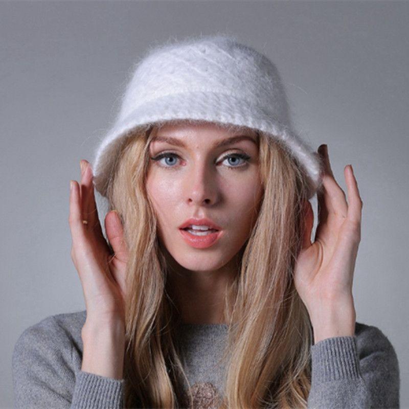 casquillo de las mujeres del sombrero de punto de lana del sombrero del cubo de invierno caliente de pieles 2018 nuevo otoño y el invierno