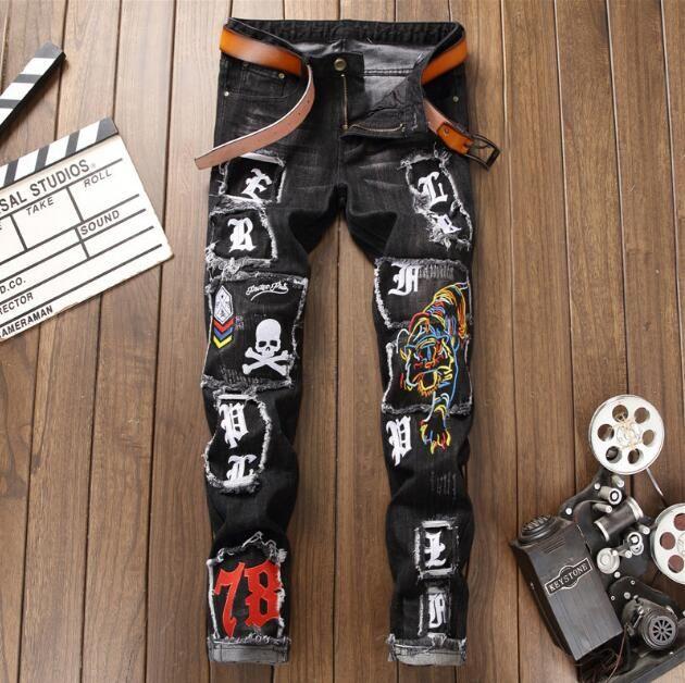 Модно - джинсовая марка Tide Мужская джинсовая одежда сломанного вышитого тигрового черепа, значок мужского пола, брюки для самосовершенствования, брюки из эластичного денима