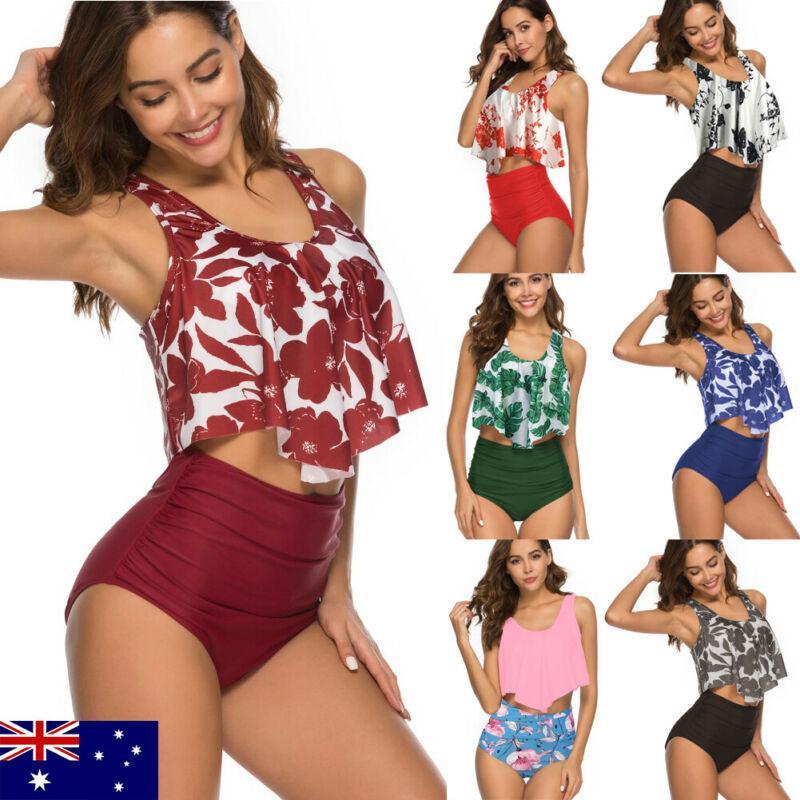 AU Femme Floral Style d'impression Sexy Lady Soutien-gorge solide taille haute tankini plage maillot de bain Beachwear Maillots de bain Bikini S-3XL