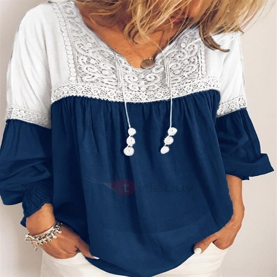 dikiş kadın renk kontrastı gevşek üst dantel dantel kadın renk kontrastı gevşek üst dikiş