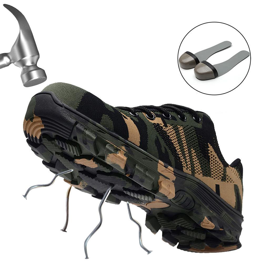 JACKSHIBO Chaussures de sécurité pour hommes Bottes de sécurité en acier à bouts de travail, Plus la taille Hommes Camouflage Anti-Crevaison bottes chaussure de securite