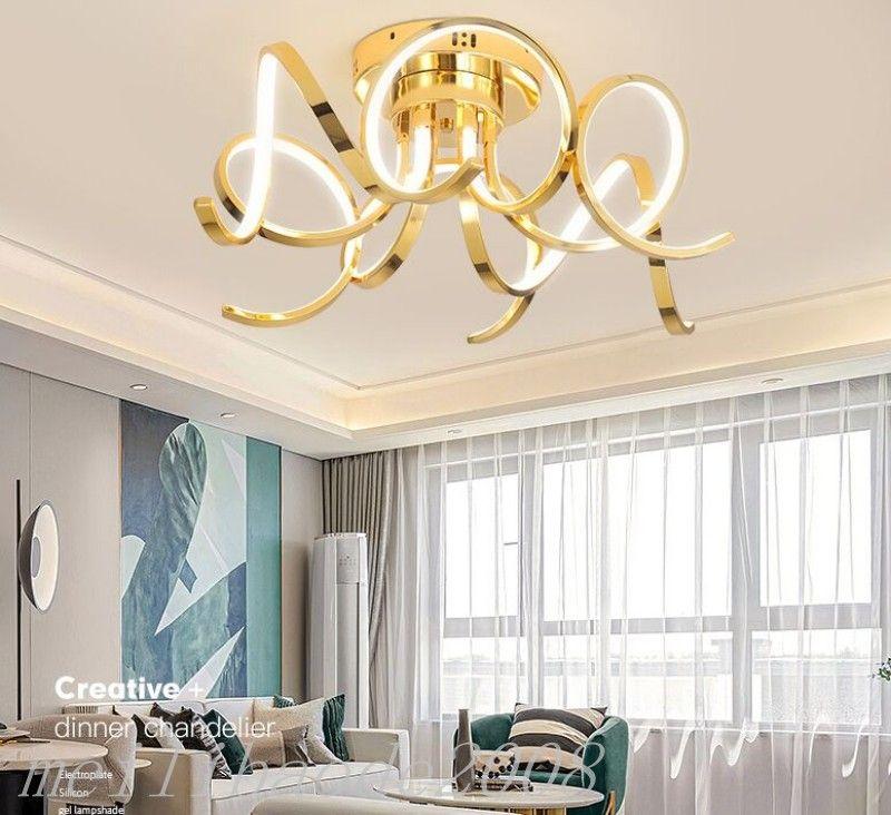 Современные светодиодные потолочные светильники для обеденного потолок Гостиная Спальня конной Светодиодный потолочный светильник хром / золото Закончено AC90-260V MYY