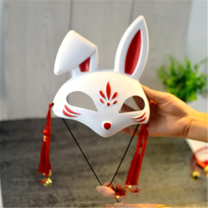 Masque de chat de Noël Party mascarade couverture cadeau style chinois demi-masque de visage avec Glands et Bells Pour cosplay Costum