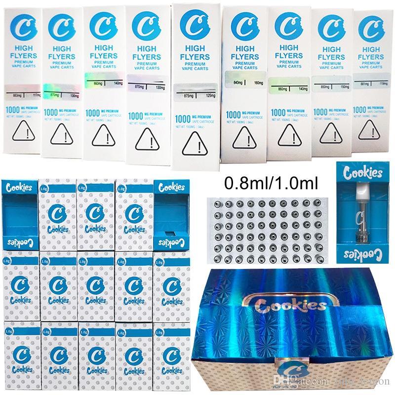 Cookies Cookies Cartridges Упаковка 0,8 мл 1 мл керамический стекло толщиной нефтяной DAB ручка восковые вауризаторы тележки распылитель E Cigarettes 510 нить пустой