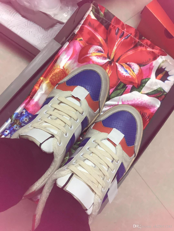 il progettista del mens di marca web Celebrity Style Donna sportiva piccole scarpe sporche Incantesimo della banda di colore lacci in pelle bassa - top sport piatto traspirante