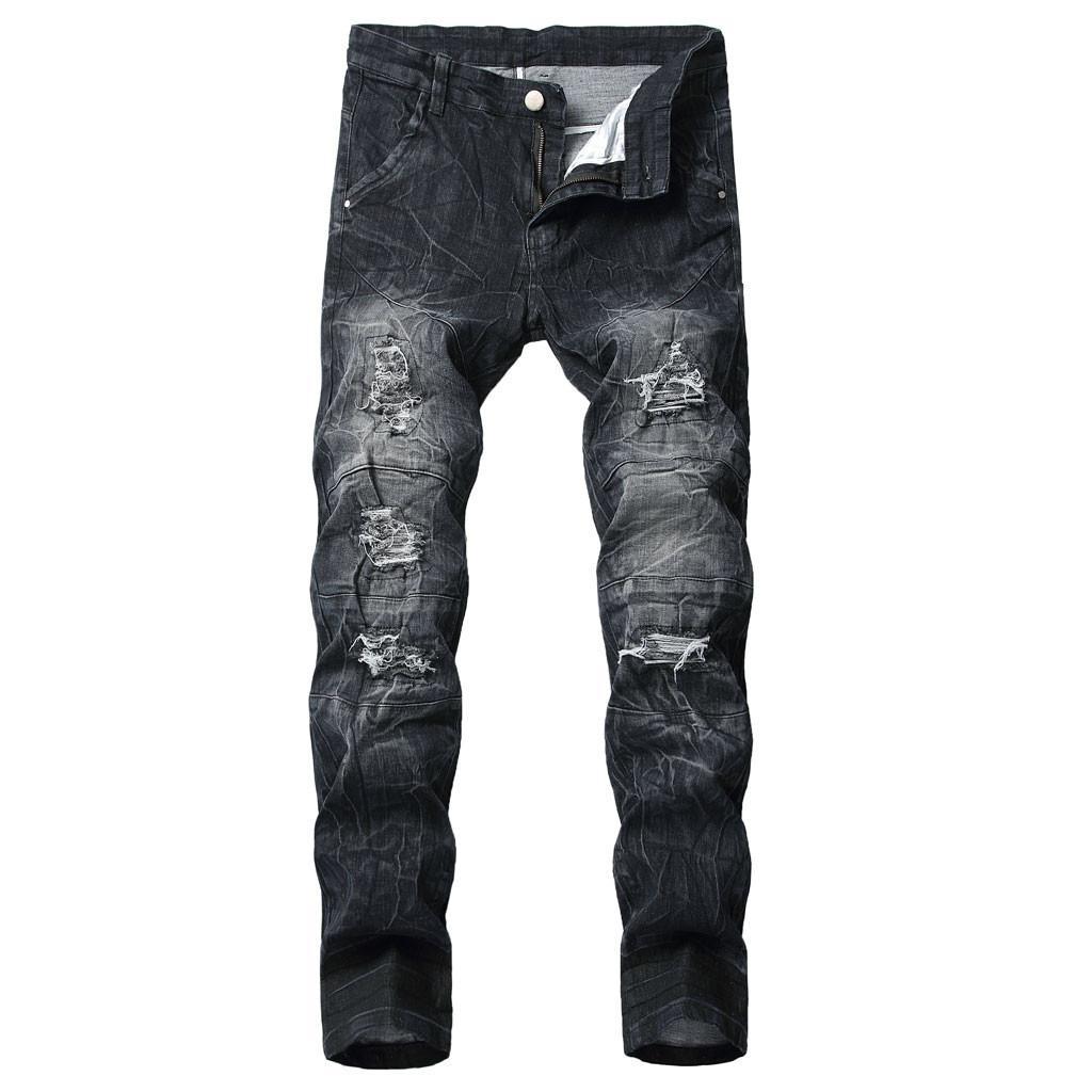 2019 Novos Homens Moda Jeans Business Casual Elastic Stretch Rasgado Personalidade Jeans Fino Calças Clássicas Denim Calças Masculinas C1
