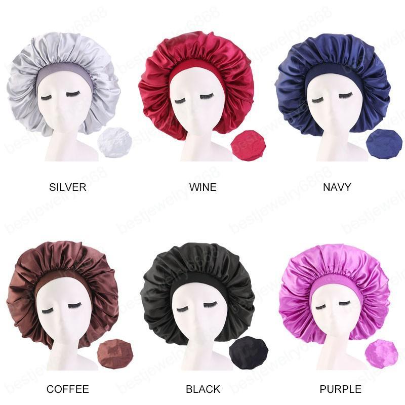 Extra Big Size Salon Hair Caps Satin Bannet Cap Sleep Night Cap Head Cover Bonnet Hat for For Curly Springy Beauty Hair Care Cap