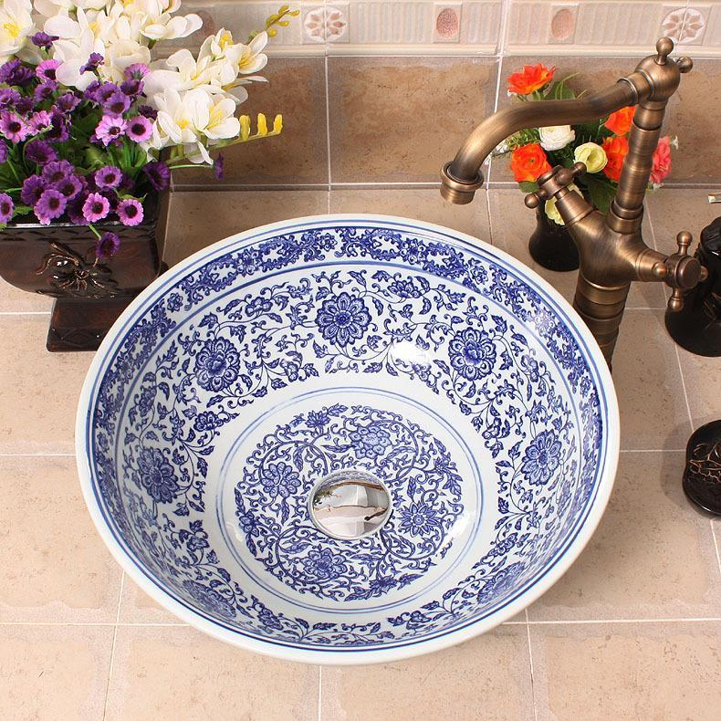 Mavi ve beyaz Jingdezhen fabrika doğrudan seramik lavabo el