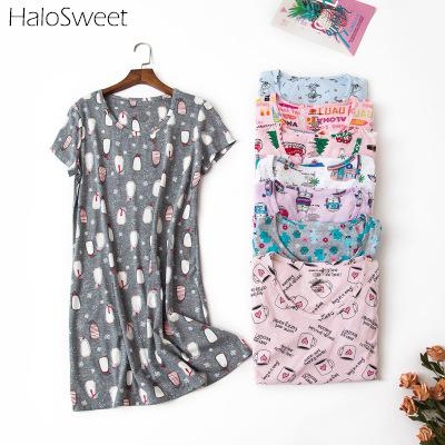 HaloSweet 90kg Plus Size 100% Cotton Sleepwear Women Nightdress Nightgown Vintage Night Dress Babydoll Chemise Indoor