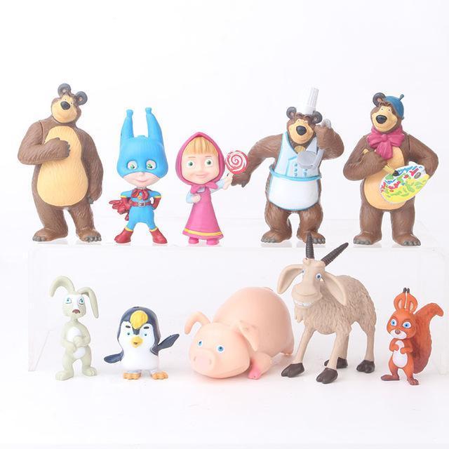 2019 10PCS / 설정 새로운 친구 토끼 다람쥐 펭귄 염소 돼지 PVC 모델 어린이를위한 장난감 피규어