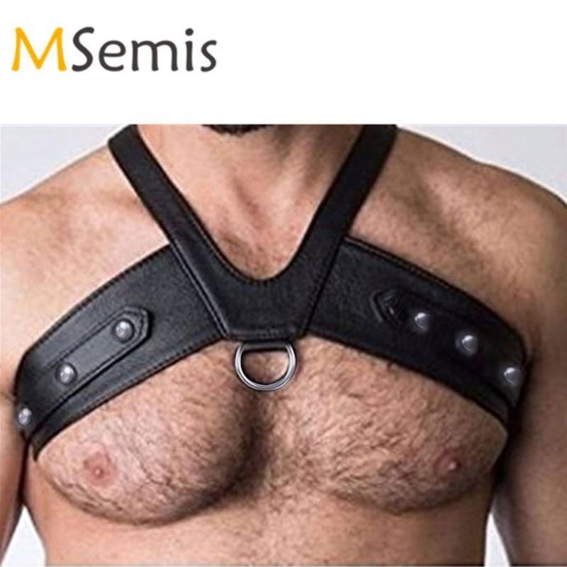 O-ringler Düğmeler Gay Gotik bdsm Bondage ile MSemis Harness Erkekler Kölelik İç Sahte Deri Harness Vücut Göğüs Kostüm