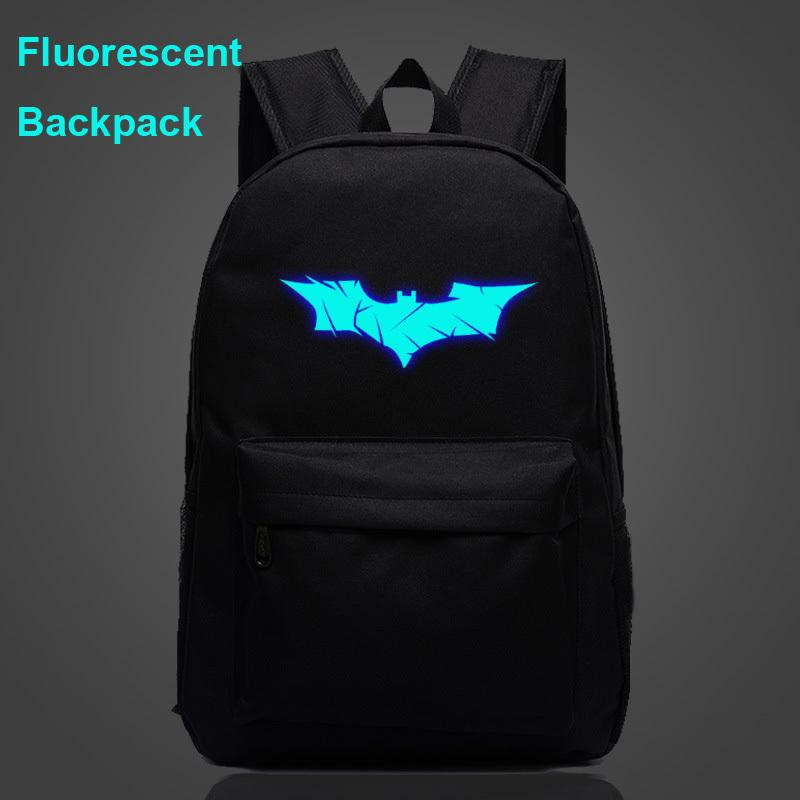 Luminoso fluorescente del Comic Mask Batman Bat Boy Girl School Borse donna Bagpack adolescenti Zaini Canvas Men Student Zaini