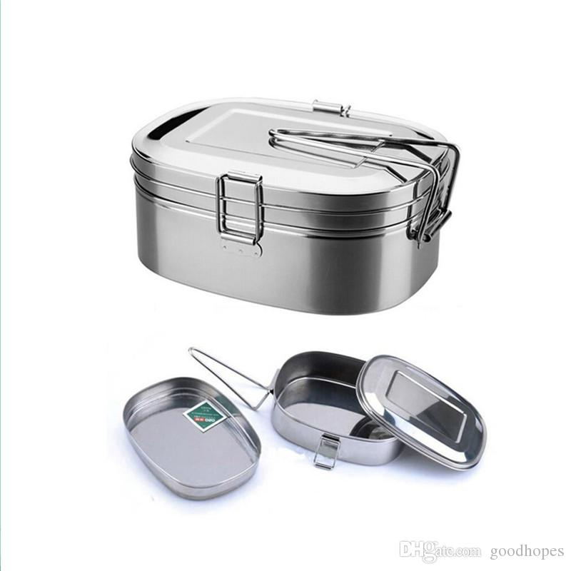 Stainless Steel Lunch Box Metal Bento Box Food Container Double Layer Lunch Box for Kids School Office Work Outside Camping