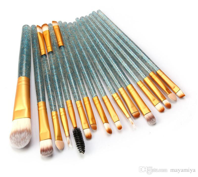 Yeni 15 Adet Glitter Makyaj Fırçalar Set Kaş Eyeliner Vakfı Fırça Pudra Allık Profesyonel Makyaj Fırça Parlak Fırçalar Set DHL