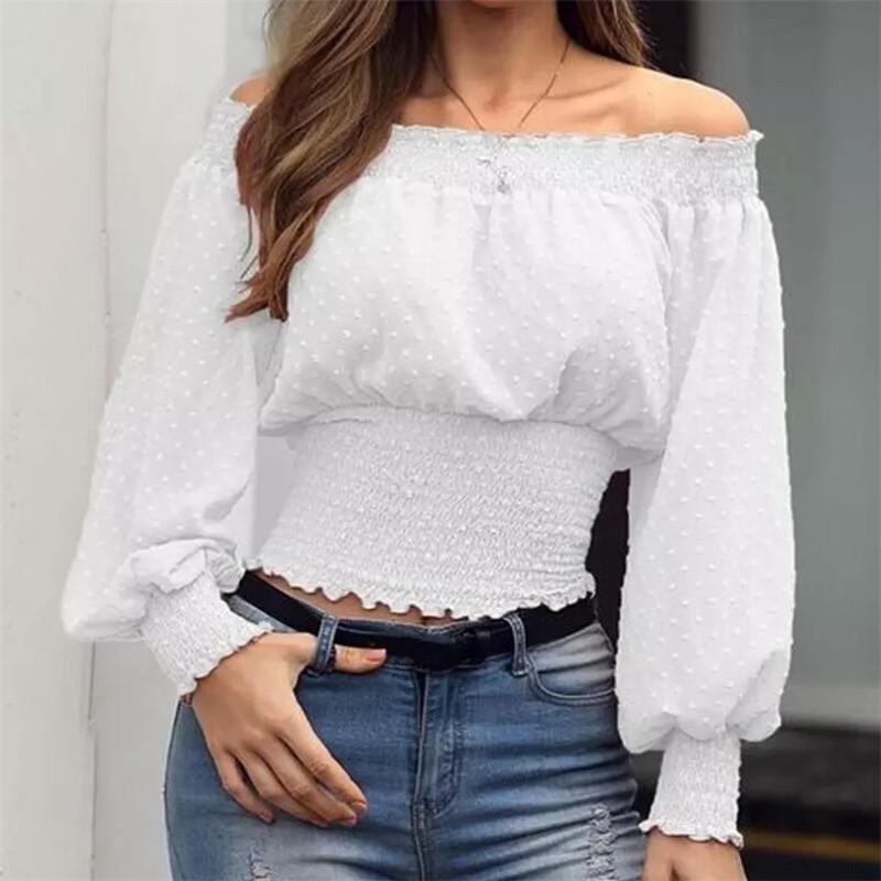 Mulheres Alças de Slash Long Neck Sleeve Blusa Top Ladies solto Traduzidos Blusa rosa Preto White Plus