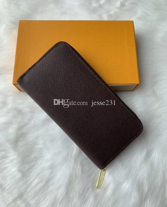Mens Zipper Wallet Vertical Lange Art-Mappen-Frauen-Geldbeutel-Kupplungs-Mappen-Leder-Geldbeutel-Kartenhalter mit dem Kasten