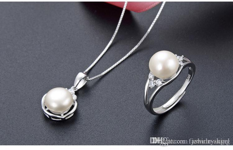 Valentinstag Geschenke Damen-S925 Sterling Silber Anhänger + Ring Set Schmuck Süßwasserperlenhalsketten S925 Größe ajustable Ringe