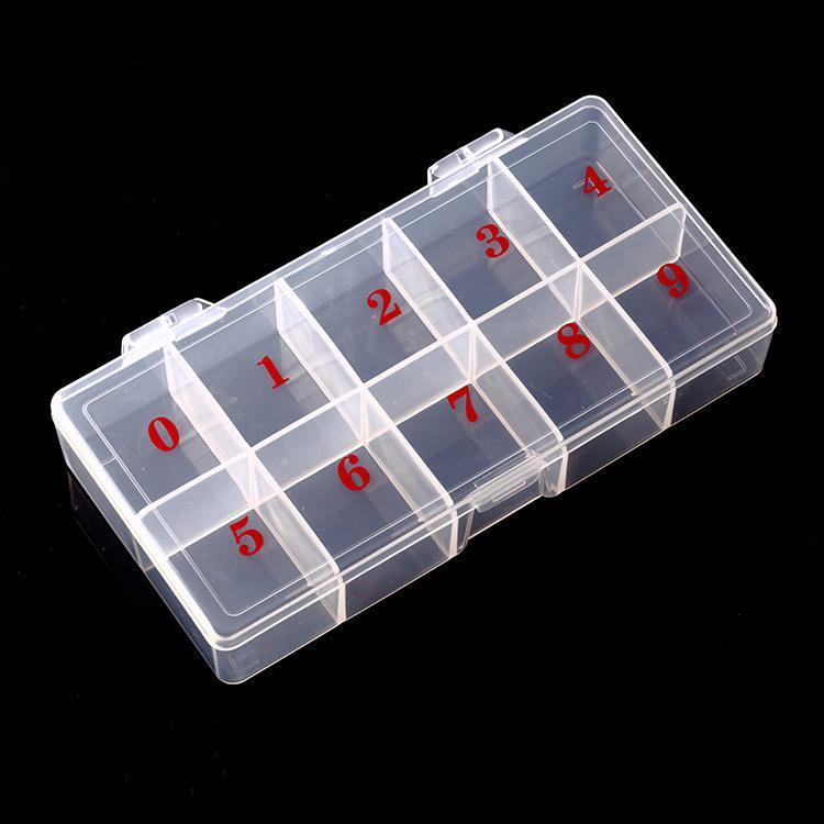 1 PCS Plastic Empty 10 Cells Storage Case Box for False Nail Art Tips Gems Beads