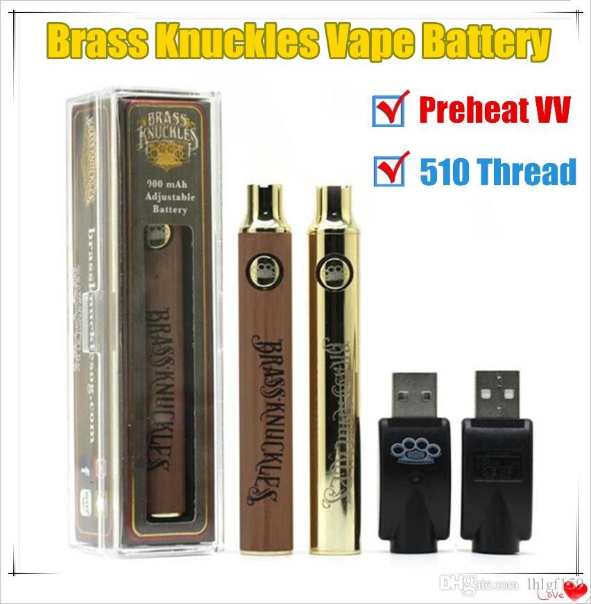 1Pcs Juntas de bronze Vape Battery 900 Pen Voltage 650mAh ouro Variável de madeira com carregador USB na caixa de presente para 510 Tópico Vape Cartuchos