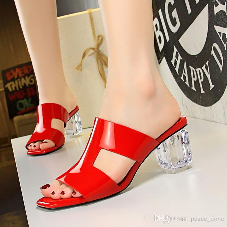 pantofole estive pantofole trasparenti chaussure transparente femme tacchi alti scarpe con cinturino moda pantofole sandali scarpe estive donna