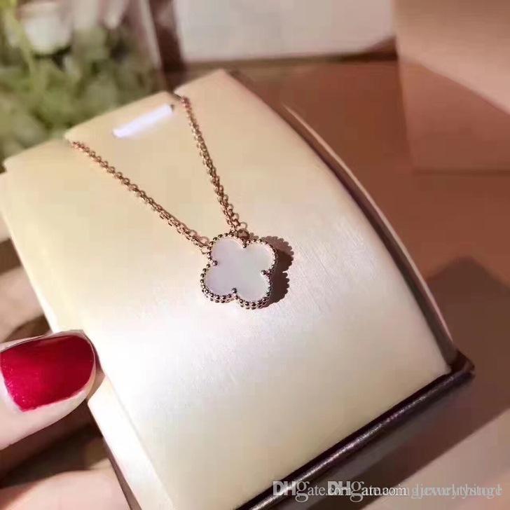 Luxuriöser Stil S925 Sterling Silber und Markennamen Halskette mit Blume in 45cm Länge mit colver Blumen für Frauen Hochzeitsgeschenk j