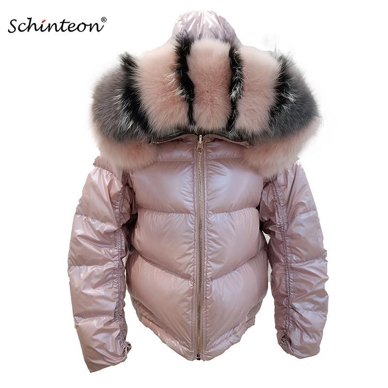 2019 Schinteon Kadınlar Beyaz Aşağı Ceket Big Gerçek Yaka Hood Kış Dış Giyim Ters İki Side Ördek Su geçirmez ceket giymek
