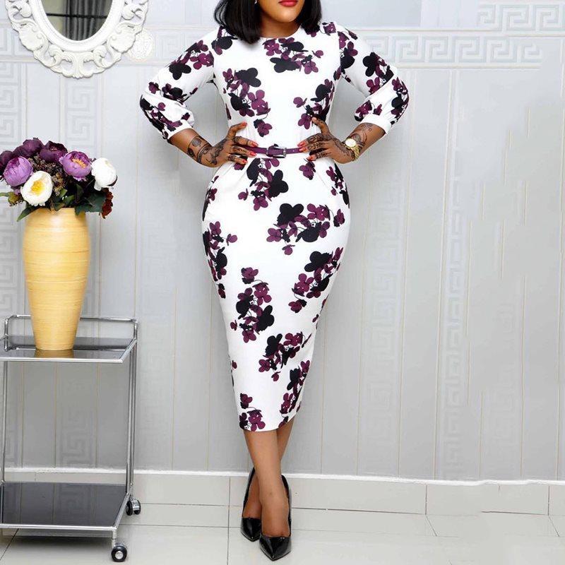 خمر الزهور طباعة جولة الرقبة الهيئة غير الرسمية اللباس مكتب مثير السيدات ماكسي اللباس الأفريقي أزياء المرأة ستاندرد الخصر الأنيق رداء