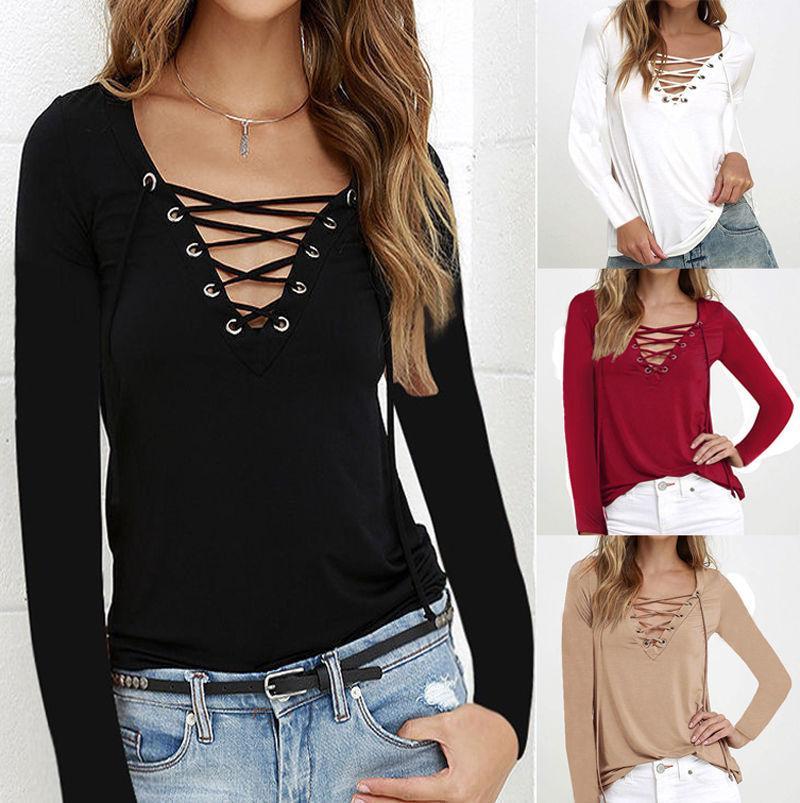 Moda Bayan Long Sleeve Gevşek Bluz Günlük Gömlek Yaz Kırmızı Siyah Beyaz Kuşak Tops