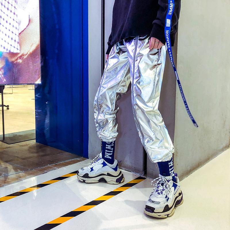 Yeni kişilik kuaför gümüş parlak rahat pantolon pantolon erkek moda hip-hop hip-hop kırpılmış