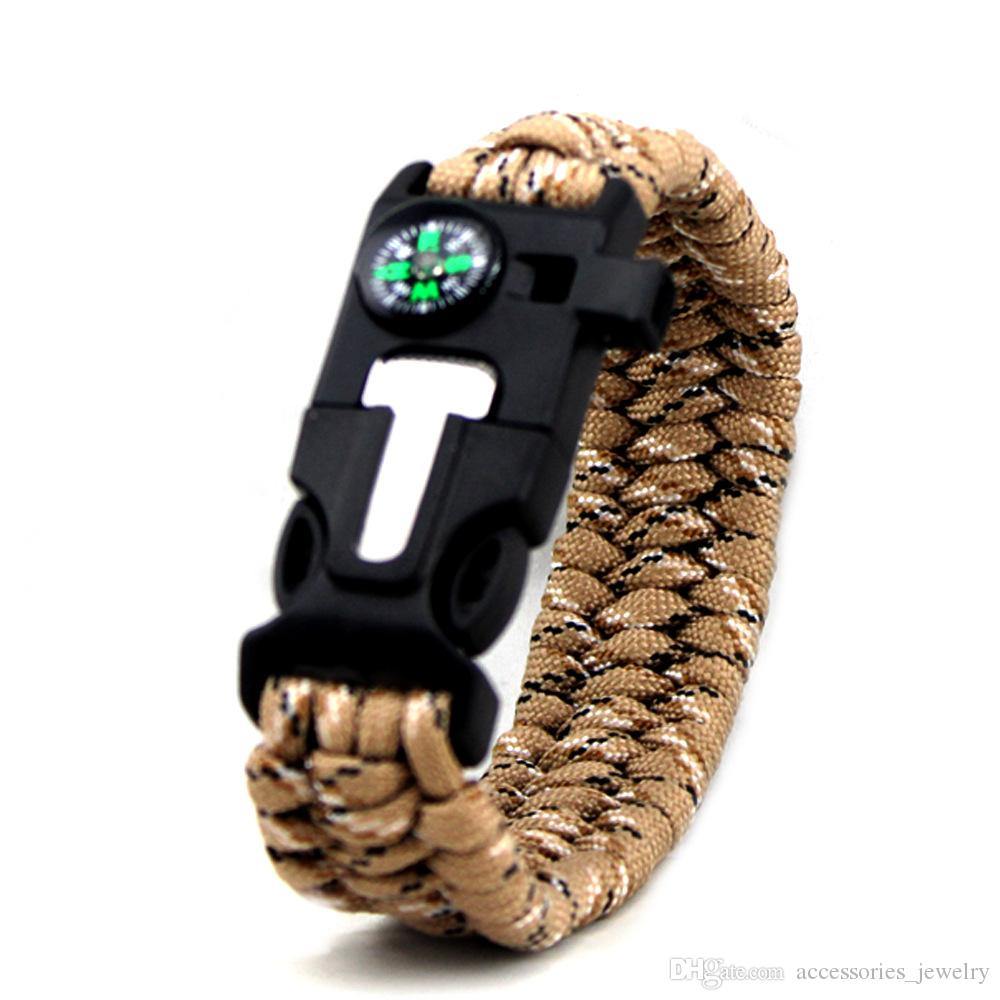 2019 New Trendy Fashion Outdoor Camping Bracelet High Quality Handmade Woven Paracord Bracelets with Compass and Whistle