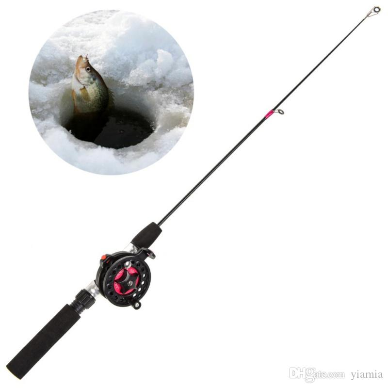 2019 Nuevo Spinning Fishing Fishing Rod Tackle Lure Ultra-short telescopic ice fishing rod Mango EVA negro