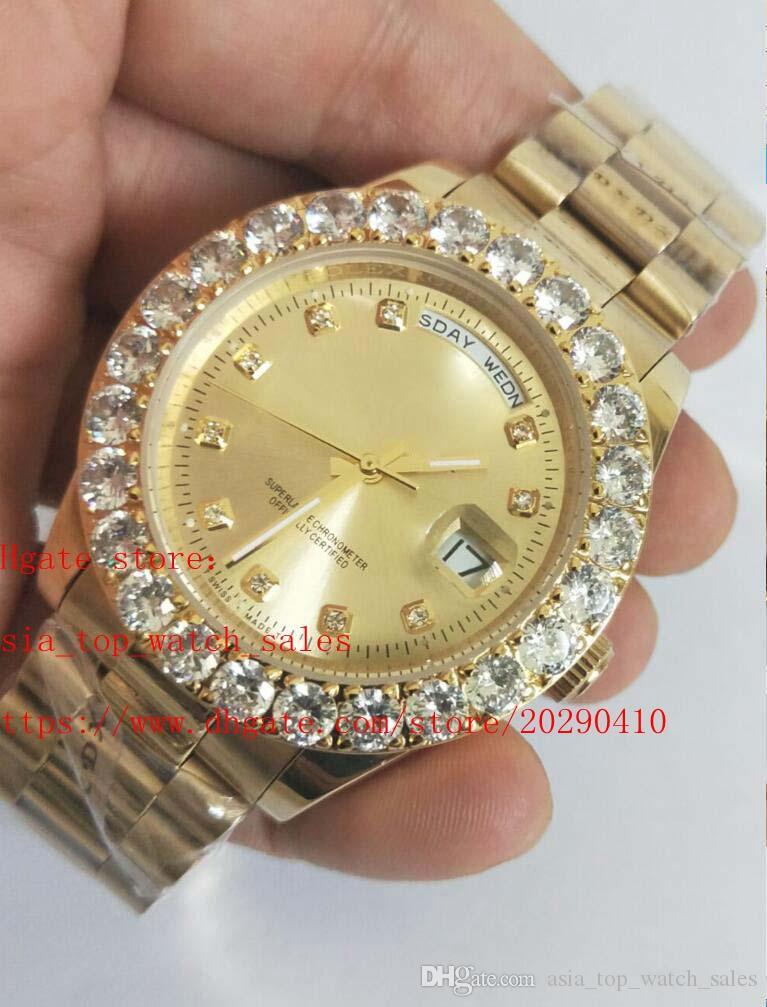 última versão de luxo Mens 41MM Presidente ouro 18k e Rose ouro do estilo 2 Maior diamante mecânica automática Mens Watch