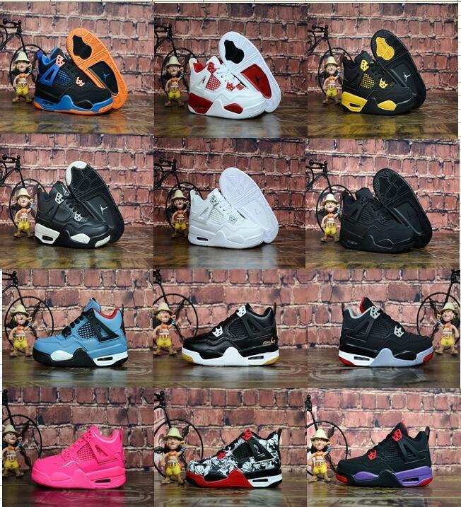 Дети в 4 Бреда Кактус Джек Pure денег баскетбола обуви малыша 4s Дети Мальчик Девушка Розовый Белый Alternate 89 Black Cat кроссовок размера 28-35