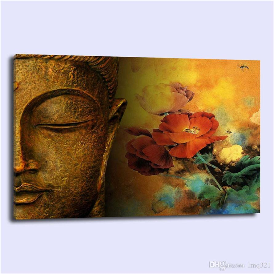 BUDDHA FLOWERS Religion Spiritual,Home Decor HD Printed Modern Art Painting on Canvas (Unframed/Framed)