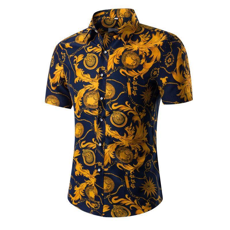 Camisa para hombre hawaiano corto masculino ocasional Camisa Masculina playa impresa camisas de manga corta de los hombres del verano ropa regular tamaño asiático 5XL