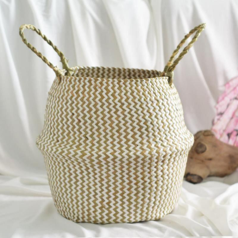 Foldable Handmade Folding Wicker Grass Weaving Storage Basket for Cosmetics Dirty Clothes