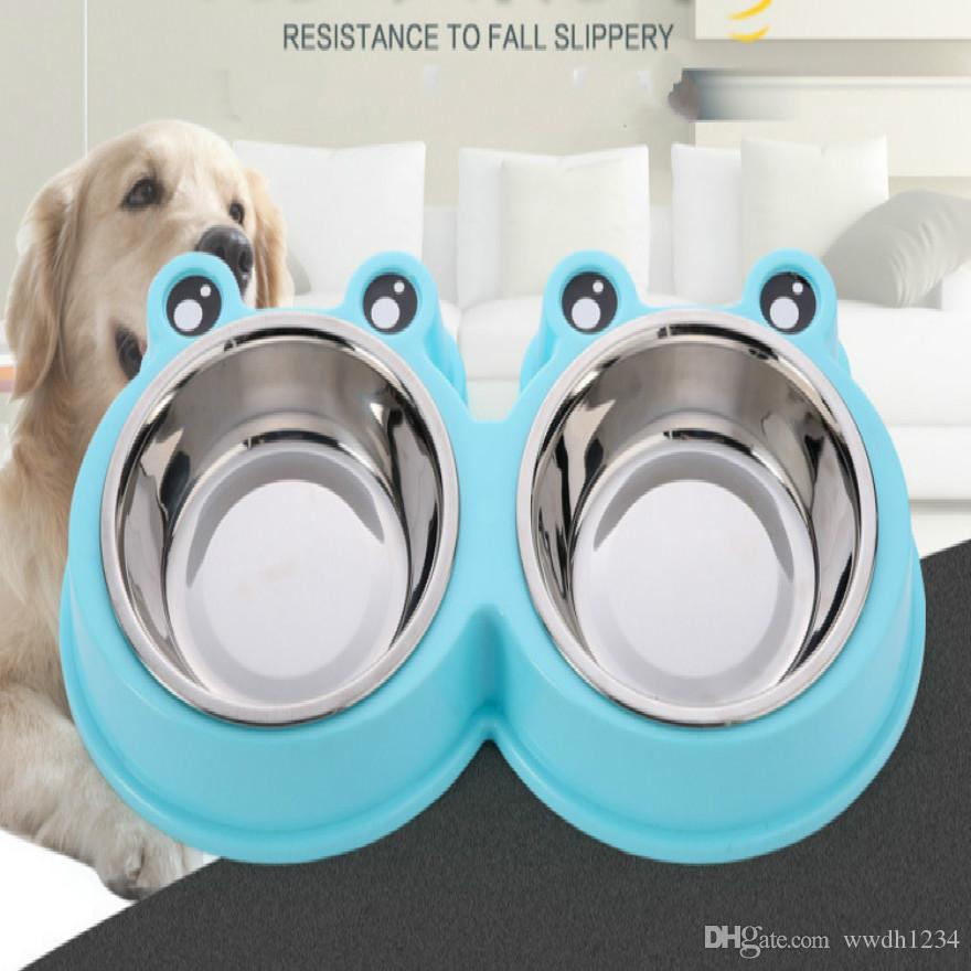 Pet supplies dog stainless steel cartoon double bowl multicolor rubber non-slip bottom material safety pet bowl