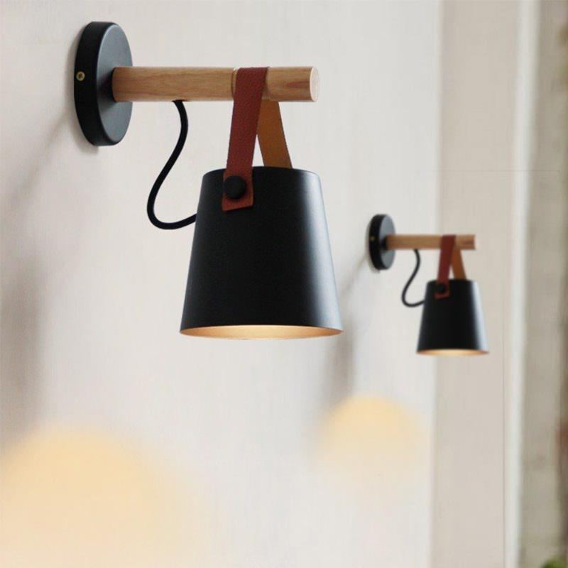 Mur LED nordique style en bois clair mur Lampes d'éclairage moderne pour restaurant bar Lampe de chevet Ombre Accueil Chambre Décoration