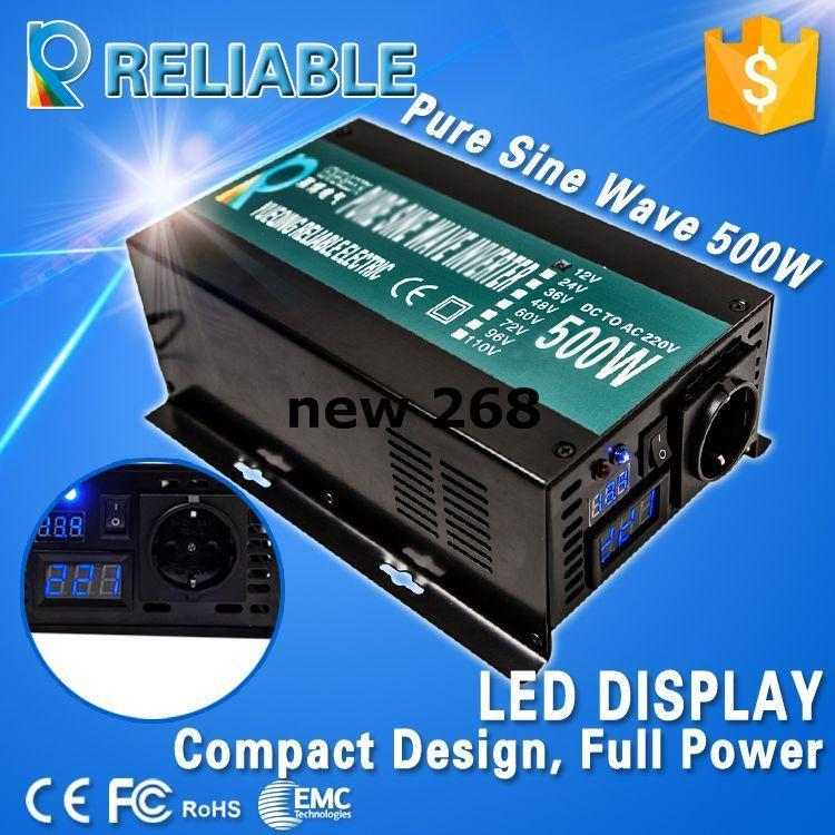 Freeshipping LED Display Off Grid Solar Inverter 500Watt/500W 12/24/48VDC to 110/220VAC 500W Rated Pure Sine Wave Power Inverter