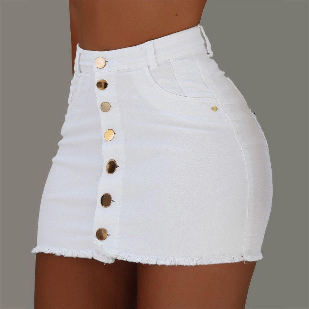 Mulheres Quente Cintura Alta Cintura Soltas Senhoras Fashion Novo Verão Botão Denim Curto Mini Jeans Saia