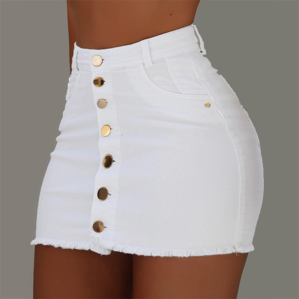 Frauen heiße gitter hohe taille feste röcke damen mode neue sommer button denim kurze mini jeans rock