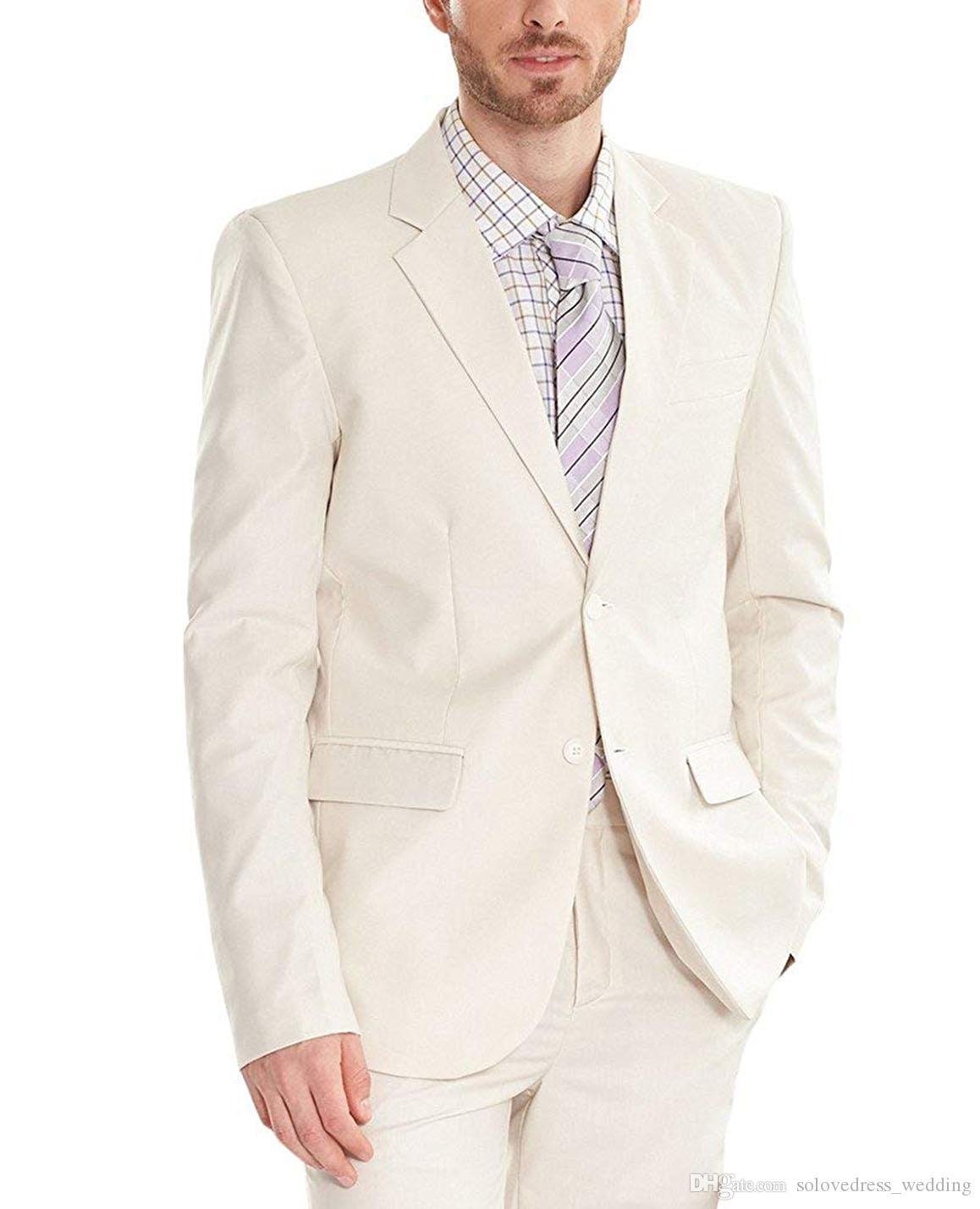Solovedress White Men Suit Slim Fit Costumes De Noce Deux Bouton Blazer Meilleurs Hommes Suit Tuxedo Pants Set