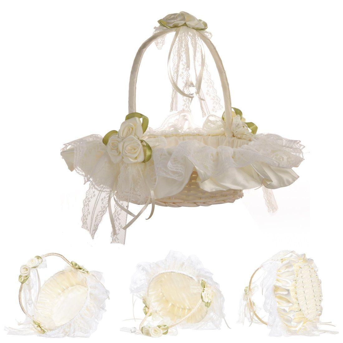 Beige Color Wedding Flower Basket With Elegant Satin Round And Champagne Rose Flower Girl Baskets Wedding Favors Decoration