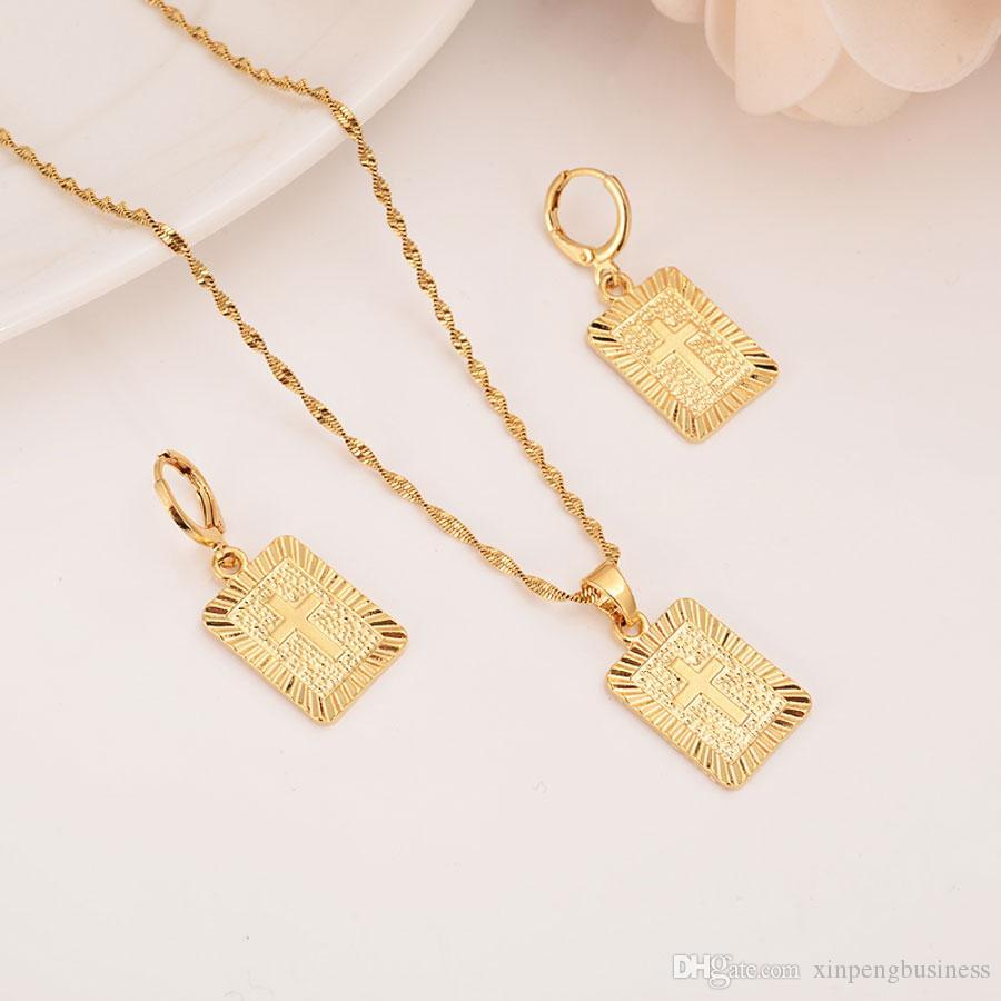 22 K 23 K 24 K Thai Baht Solid Fine Yellow Gold GF Christian Square Cross Pendant Drop Necklace Chain Earrings Sets Jesus Gift