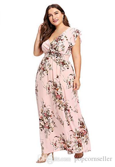 Plus Size Imprimé à fleurs Robes de mode taille haute V Neck Robes Femmes manches courtes robes ligne